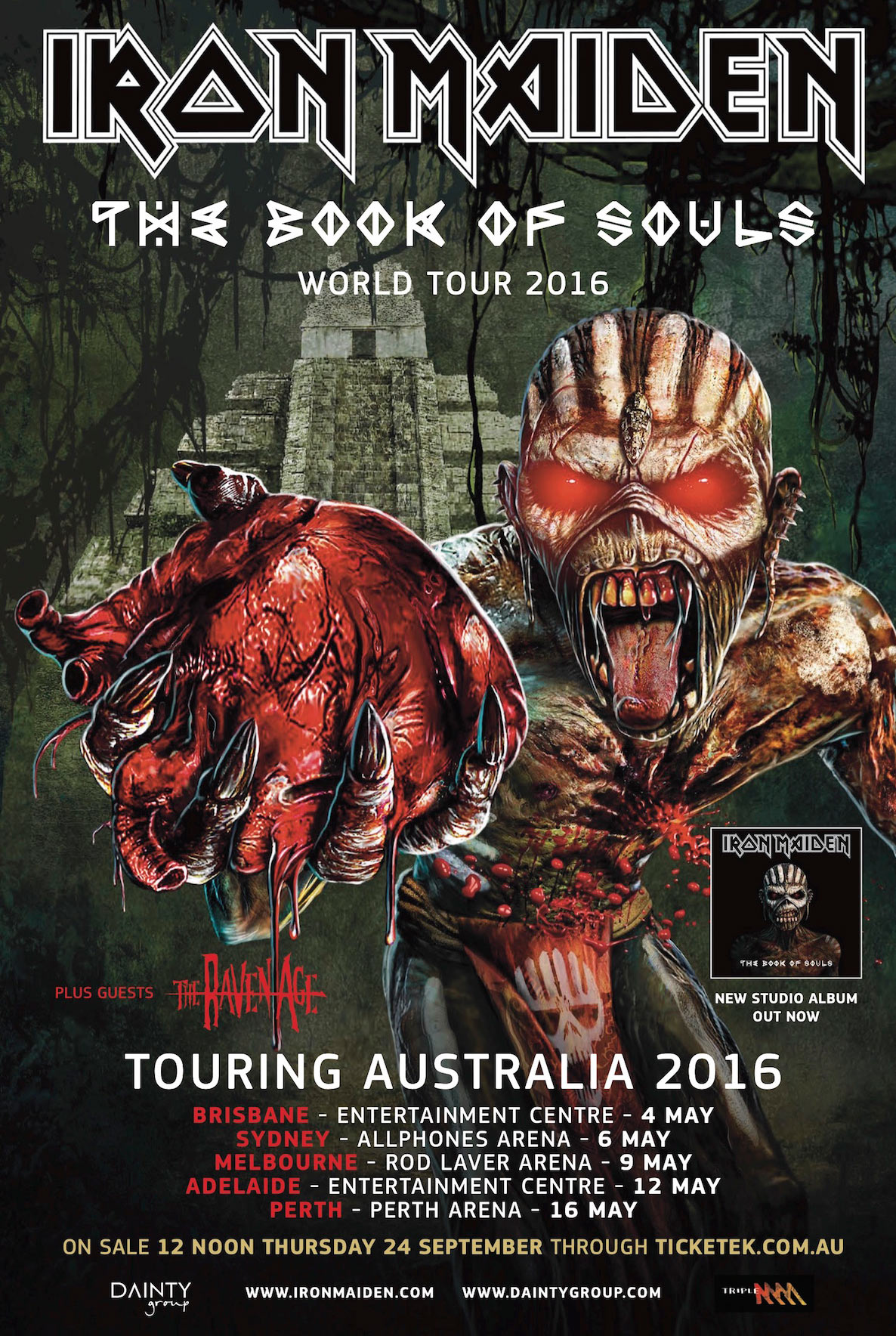 iron maiden australian tour 2016 across the ocean. Black Bedroom Furniture Sets. Home Design Ideas